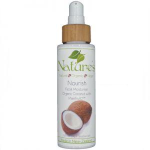 Nourish Organic Coconut Moisturiser 250ml for normal-dry & dehydrated skin. Organic, natural and vegan.